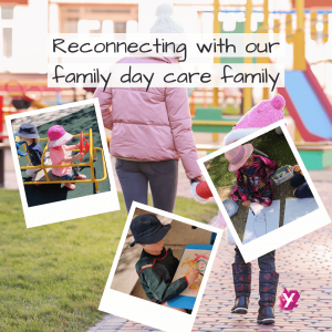 a collage of images of children playing with a background photo of a person holding hands with a child. The image text reads reconnecting with our family day care family