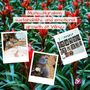 image collage of kids at Winyu with flowers in the background