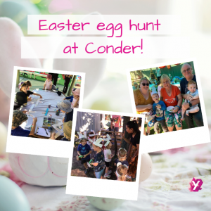 photo of children doing the easter egg hunt at conder