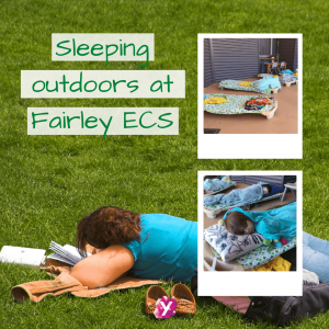 a photo of a person sleeping on green grass with text that reads sleeping outdoors at fairley ECS