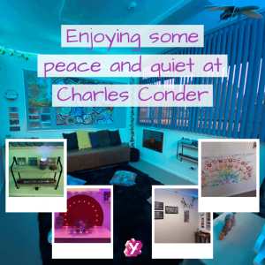 photo of rooms at conder with text that reads enjoying some peace and quiet at charles conder