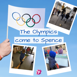 image of the olympics flag with text that reads the olympics come to Spence